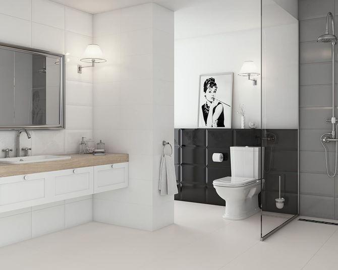 Biało-czarna łazienka retro wykończona kaflami