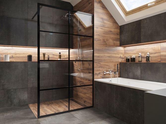 Szara łazienka w drewnie z kabiną walk-in