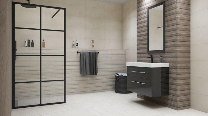 Szaro-biała łazienka z czarnymi dodatkami