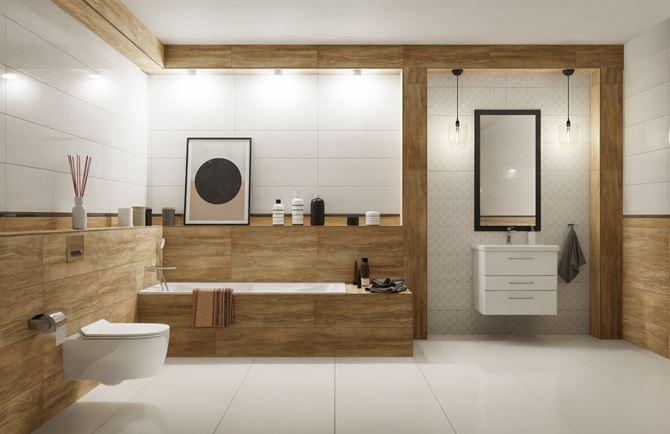 Jasna łazienka w ciepłym odcieniu z dodatkiem drewnopodobnych płytek