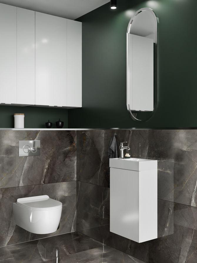 Toaleta w ciemnych kolorach wykończona kamiennymi płytami