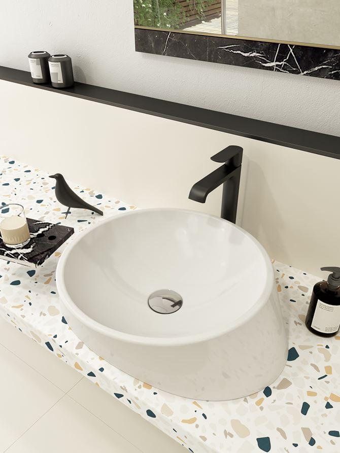 Biała umywalka nablatowa z kolekcji Bocchi Venezia