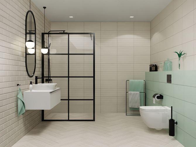 Biała łazienka z cegiełką z miętowym akcentem