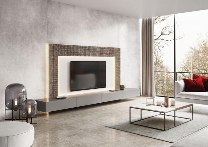 Mozaikowa ściana telewizyjna w salonie