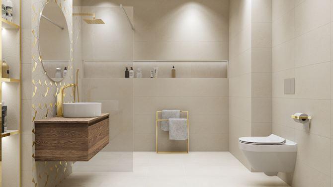 Jasna łazienka glamour ze złotymi akcentami
