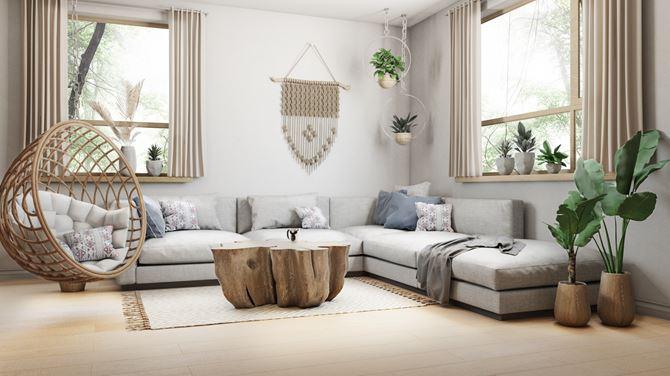 Jasny salon w stylu skandynawskim
