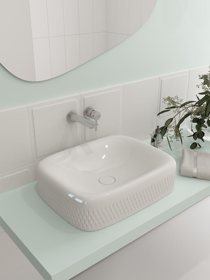 Umywalka nablatowa w pastelowej łazience