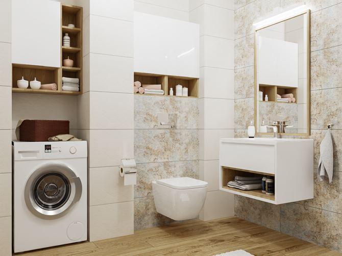 Biała łazienka z ozdobną płytką z wzorem tkaniny