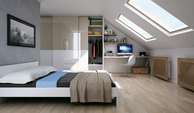 Sypialnia pod skosami z miejscem do pracy