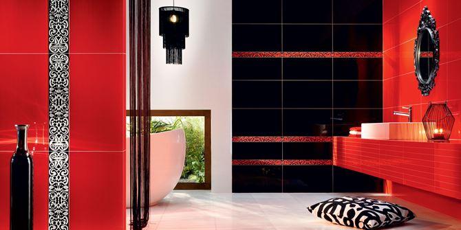 Kombinacja czerni i czerwieni w łazience- Tubądzin Colour Black&Red