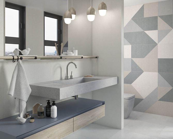 Aranżacja łazienki z geometryczną ścianą Paradyż Linum Stone