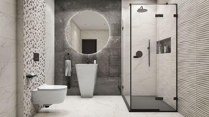 Nowoczesna łazienka w kolorach szarym i białym