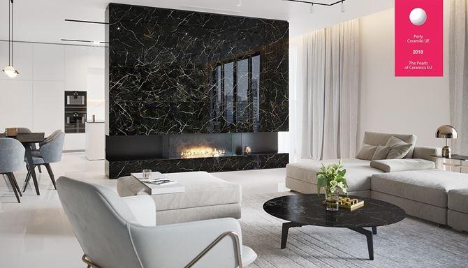 Salon z marmurową ścianą, otwarty na kuchnię