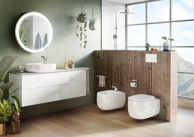 Biała ceramika Roca Beyond w nowoczesnej łazience