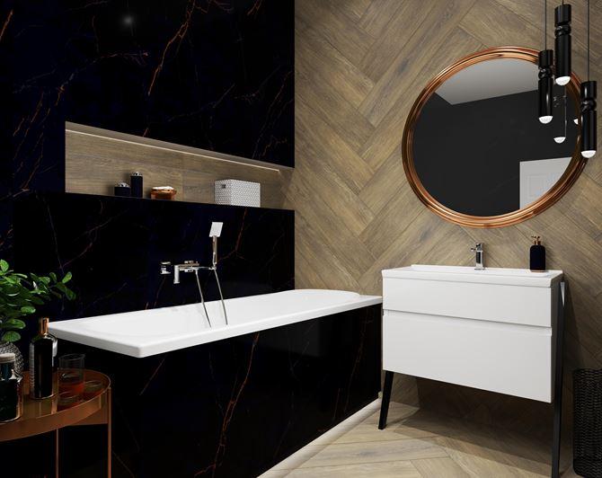 Eleganckie połączenie drewna i marmuru w łazience