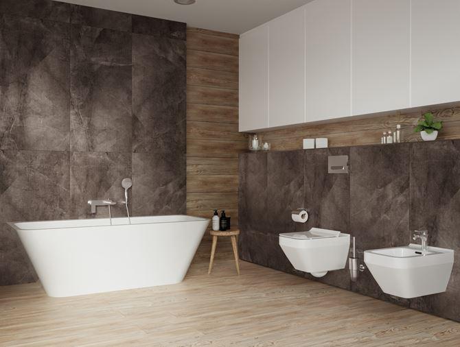Drewno i kamień w nowoczesnej łazience