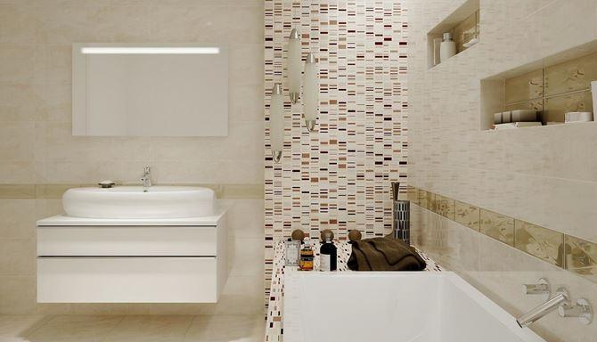 Beżowa łazienka i błyszczące dekory