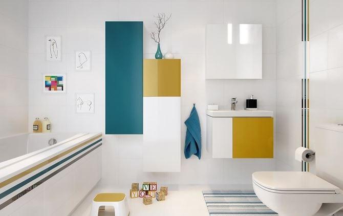 Kolorowa łazienka z geometrycznym designem