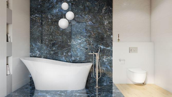 Strefa kąpielowa z płytami imitującymi kamień Opoczno Color Crush