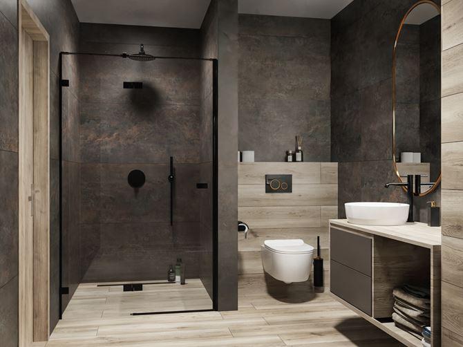 Ciemny kamień i drewno w łazience z czarnymi akcentami