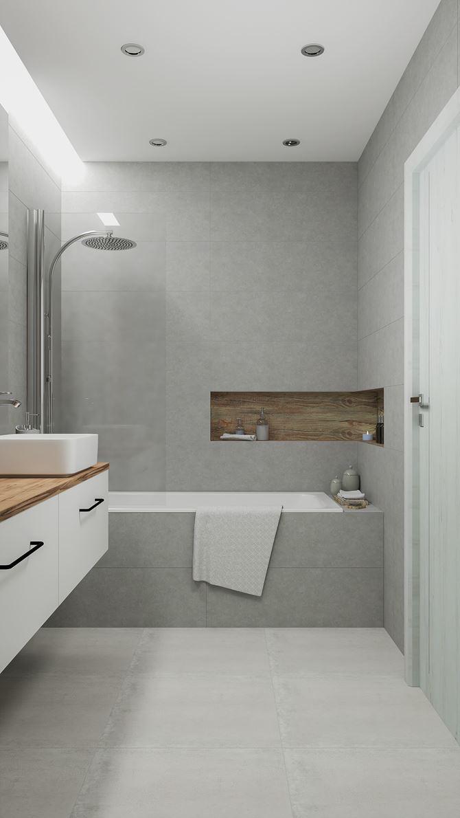 Aranżacja łazienki w kojących szarościach