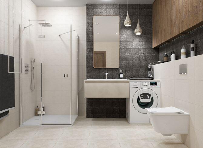 Jasna łazienka z pralką i dekoracyjną, szarą ścianą