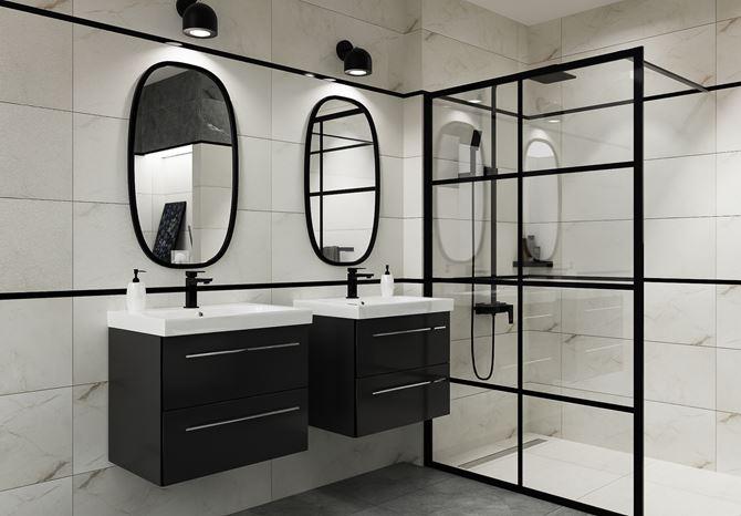 Aranżacja industrialnej łazienki z czarnymi akcentami