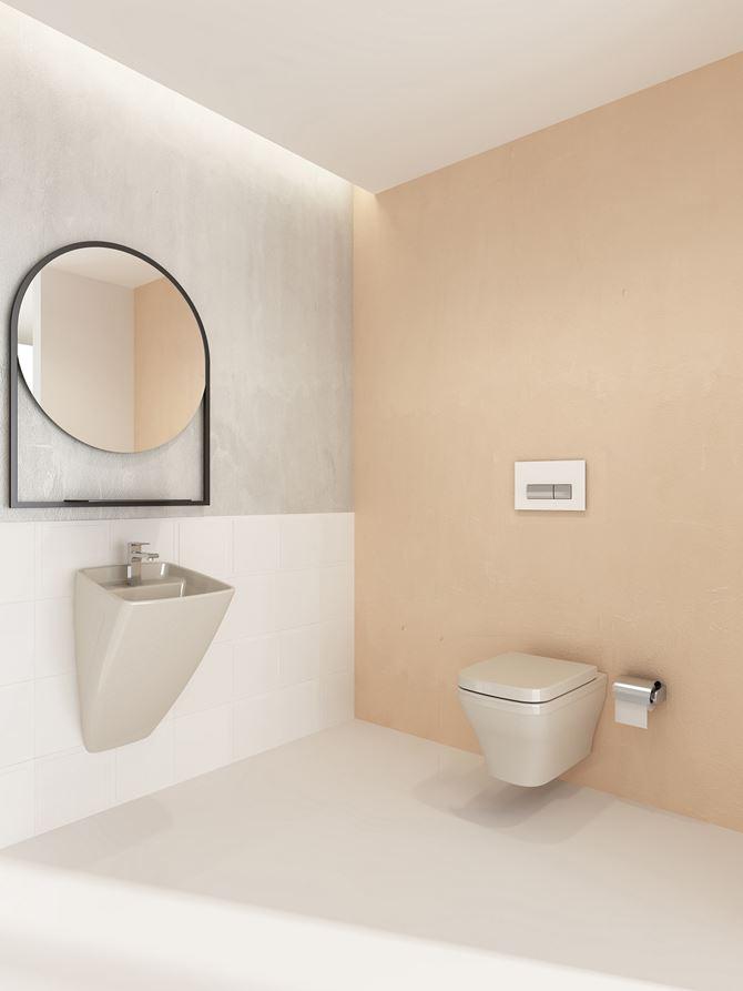 Minimalistyczna łazienka w delikatnych beżach
