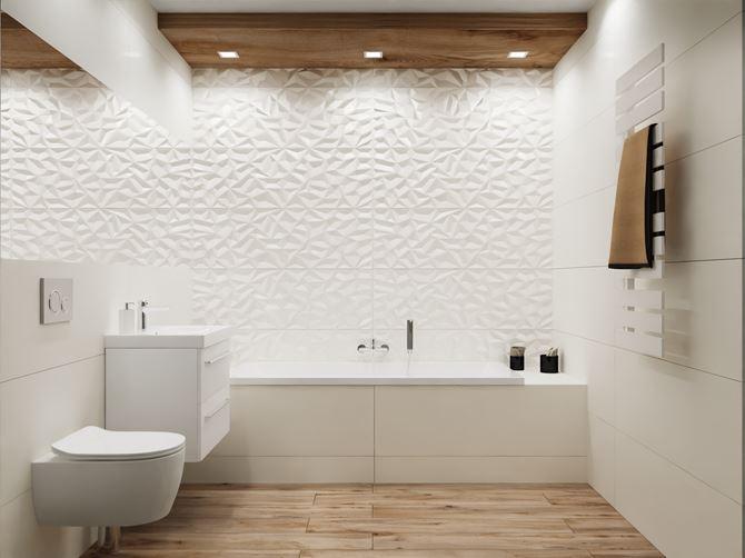 Biała łazienka ze strukturalnymi dekorami