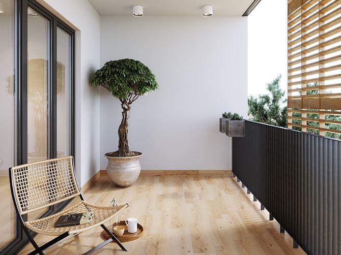 Balkon ozdobiony drewnopodobną płytką - Cersanit I love wood