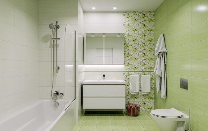 Aranżacja zielonej łazienki z florystyczną ścianą