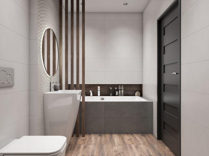 Minimalistyczna łazienka w stonowanej kolorystyce