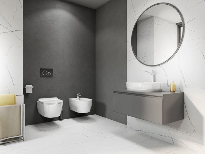 Szaro-biała łazienka w nowoczesnym stylu