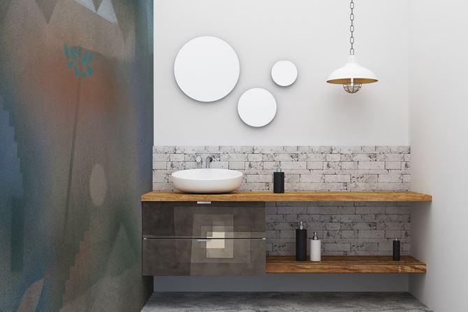 Tapeta Pixers w strefie umywalkowej łazienki