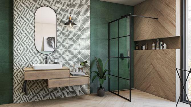 Zielona łazienka z dodatkiem czerni