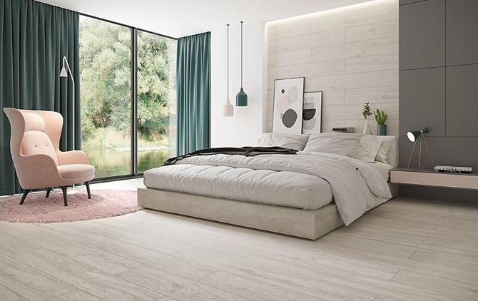 Jasna sypialnia w drewnie w stylu skandynawskim