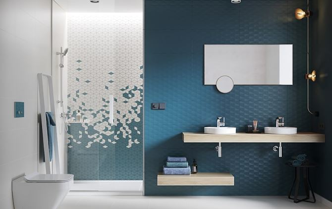 Aranżacja nowoczesnej łazienki z mozaiką i ścianą strukturalną