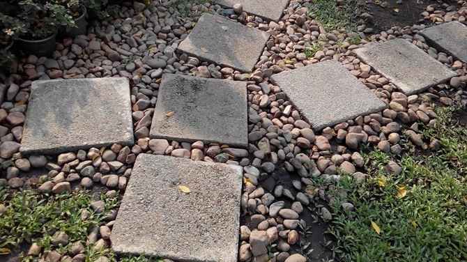 Kwadratowe benonowe płyty w ogrodzie