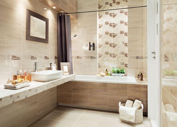 Beżowo-brązowa łazienka z florystycznymi dekorami Domino Pinia