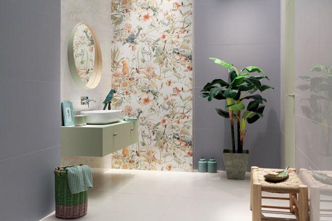 Łazienka z dekoracyjnym obrazem ściennym