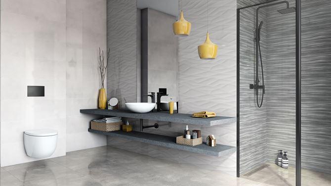 Łazienka w betonie w aranżacji Azario Oxid
