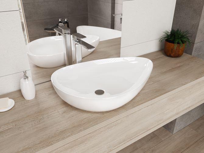 Aranżacja łazienki z umywalką nablatową IÖ Tromso Slim