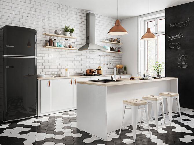 Czarno-biała kuchnia z ceglastą ścianą Ferro Kizz