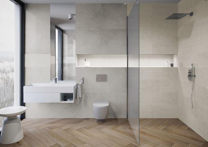 Minimalistyczna łazienka w beżach