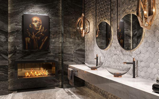 Łazienka w odcieniach szarości w stylu glamour