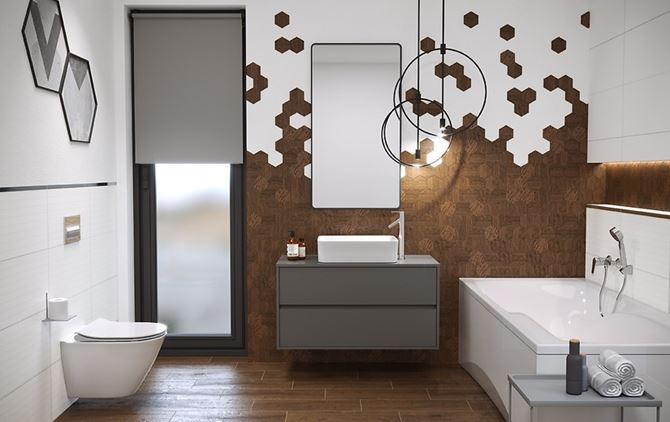 Biało-brązowa łazienka z heksagonalną mozaiką