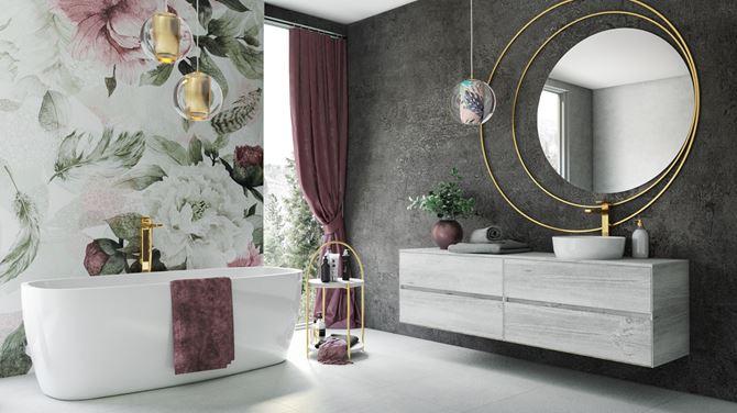 Łazienka glamour z florystycznymi akcentami