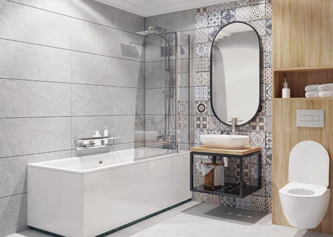 Patchwork, drewno i beton - mała łazienka Deante