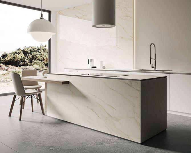 Biały marmur w nowoczesnej kuchni Paradyż Horizon