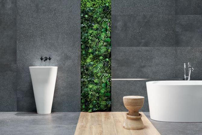 Nowoczesna łazienka z szarymi płytami